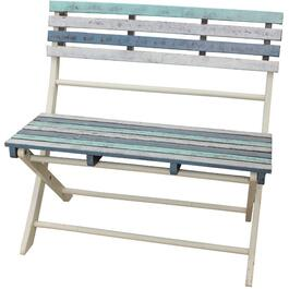 White and Blue Folding Wood Bench thumb