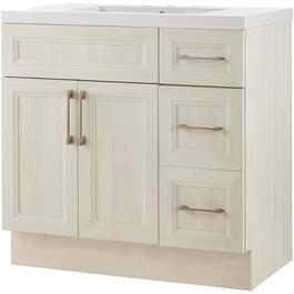 "36"" x 21"" Cashmere Antique White Wash 2 Door 3 Drawer Vanity with Acrylic Top thumb"