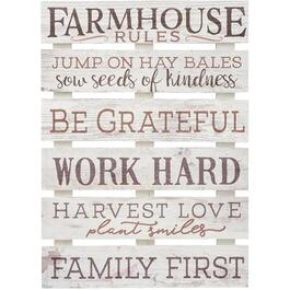 "17"" x 23-1/2"" Farmhouse Rules Wall Plaque thumb"