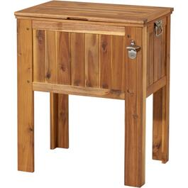 56 Quart Slated Wood Patio Cooler thumb