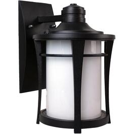 Cleveland Black Outdoor Downward Coach Light Fixture with White Glass thumb