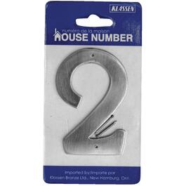"3.5"" Antique Nickel Nail-On '2' House Number thumb"