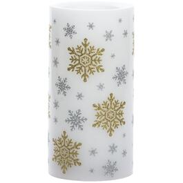 "3"" x 6"" Gold and Silver Snowflake Battery-Operated LED Flameless Pillar Candle, with 5 Hour Timer thumb"