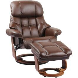 Chocolate Brown Leather Match Nicholas II Recliner, with Storage Ottoman thumb