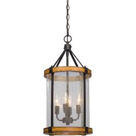 Villa 4 Light Black and Wood Finish Chain Hung Pendant Light Fixture with Clear Seeded Glass thumb