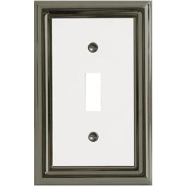 Estate Nickel with White Center Single Toggle Metal Switch Plate thumb