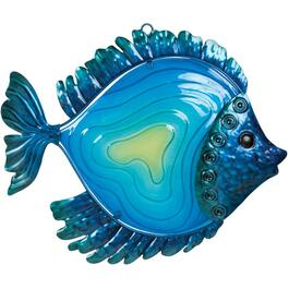 "14.88"" Decorative Blue Fish Metal and Glass Wall Art thumb"