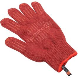 Short Sleeve Silicone Grip Red Thermal Oven Glove thumb