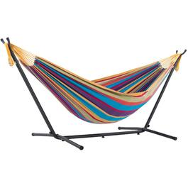 9' Double Hammock With Stand Carrying Bag And Pillow, Assorted Colours thumb