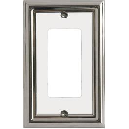 Estate Chrome with White Center Single Rocker Metal Switch Plate thumb