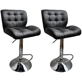 "2 Pack 24-32"" Square Black Leather/Match Bar Stools thumb"