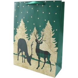"12"" x 17"" Glitter Reindeer Christmas Gift Bag, Assorted Colours thumb"