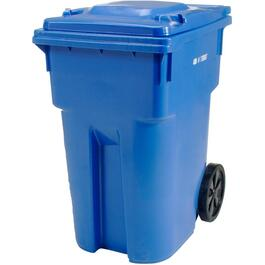 "360L Blue European Grip Curbside Garbage Can, with 12"" Wheels thumb"