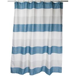 "70"" x 72"" Evans Blue/Beige Stripe Polyester Shower Curtain thumb"
