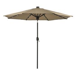 9' Beige Umbrella, with Music Centre and Solar LED Lights thumb