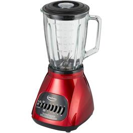 500 Watt 10 Speed Metallic Red Blender, with Glass Jar thumb