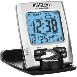 LCD Fold-Up Travel Alarm Clock, with Calendar and Temperature thumb
