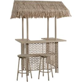 5' Bonaire Wicker Patio Bar, with Roof thumb