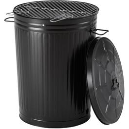 241 sq. in. Black Trash Can Charcoal Barbecue thumb