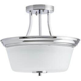 "13"" Chrome Markham Semi-Flush Light Fixture with Frosted Opal Glass thumb"