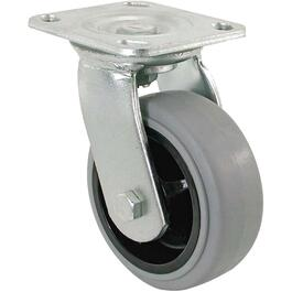 "6"" Grey Thermoplastic Rubber Wheel Swivel Plate Caster thumb"