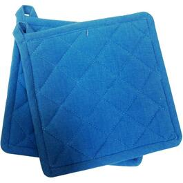 "2 Pack 8"" x 8"" Blue and White Woven Classic Pot Holders thumb"
