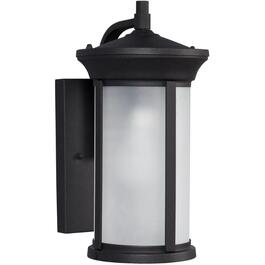 "13.5"" Black Outdoor Downward Coach Light Fixture with Frosted Glass thumb"