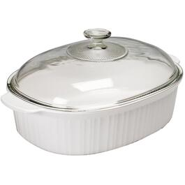 4L White Casserole Dish, with Cover thumb