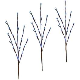 3 Pack Twig Pathway Markers, with 60 Blue Twinkling LED Lights thumb
