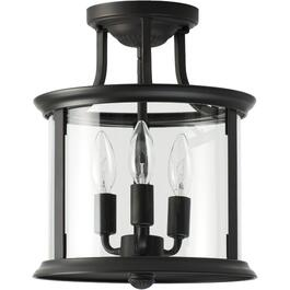 Bel-Air 3 Light Oil Rubbed Bronze Semi-Flush Fixture with Clear Glass thumb