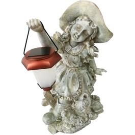 "18"" Solar Girl with Lantern Garden Statue thumb"