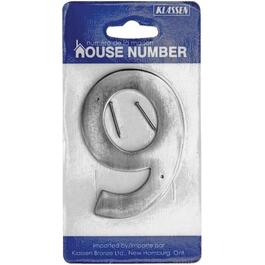 "3.5"" Antique Nickel Nail-On '9' House Number thumb"