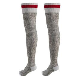 1 Pair Ladies Grey Thigh High Cotton/Acrylic Socks, with Red Cuff thumb