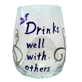 15oz Drinks Well With Others Stemless Wine Glass thumb