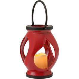 "9"" Red Ceramic Storm Lantern, with Battery Operated Candle thumb"