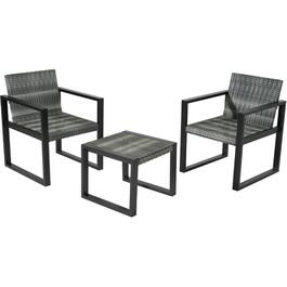 3 Piece Black Laval Wicker Chat Set thumb