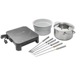 10 Piece Stainless Steel/Black Ceramic Induction Fondue Pot thumb