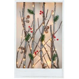 "19"" Rectangular Branch and Berries Wall Plaque, with Lights thumb"