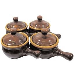 4 Piece Brown Stoneware Onion Soup Bowl Set thumb