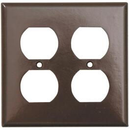 2 Duplex Brown Receptacle Plate thumb