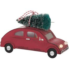 "6"" Red Retro Lighted Volkswagen with Tree Tabletop Decor thumb"