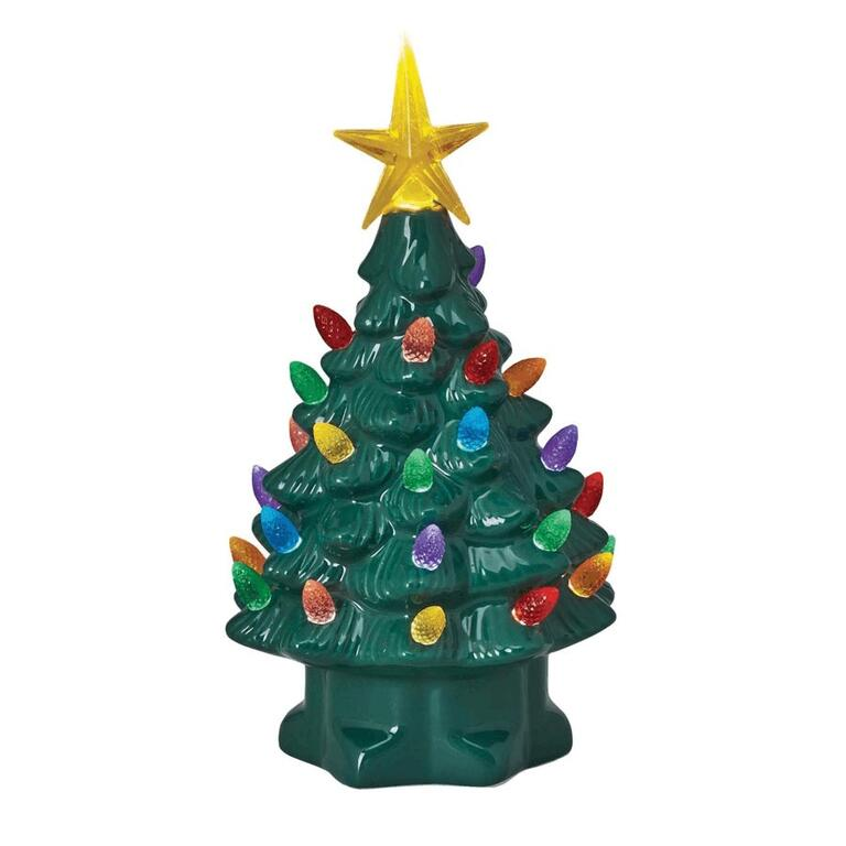 7 tabletop green porcelain christmas tree with battery operated multi coloured led lights