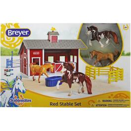 Red Stable Playset, with 2 Horses thumb
