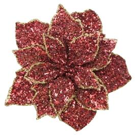 "5.5"" Red Glitter Poinsettia Clip-On thumb"