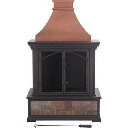 "32"" x 20"" Steel Wood Burning Dark Brown Outdoor Fireplace thumb"