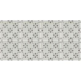"15.76 Sq.Ft 8 pack 12"" x 24"" Tuscana Bloom Deco Grey Porcelain Tiles thumb"