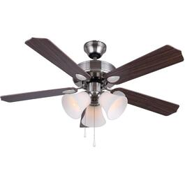"Rue 42"" 5 Blade Dual Mount Brushed Nickel Ceiling Fan with Light and Reversible Blades thumb"