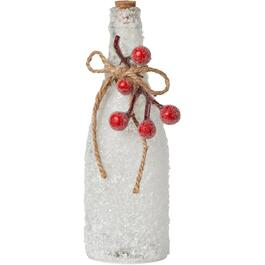 "9.25"" Christmas Frosted Glass Bottle, with Berries thumb"