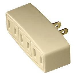 3 Outlet 2 Wire 15 Amp 125 Volt Small Ivory Wall Tap thumb