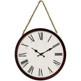 "16"" Round Espresso Wall Clock, with Rope thumb"